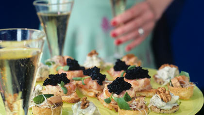 caviar appetizers and champagne for new year's party