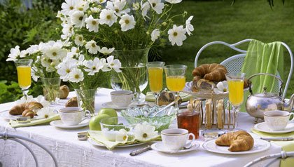 A brunch table set for Mother's day
