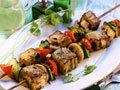 Barbecued aubergine kebabs