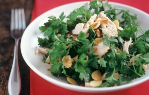 Best Recipes of Nigella Lawson. Parsley salad with chicken and almonds.