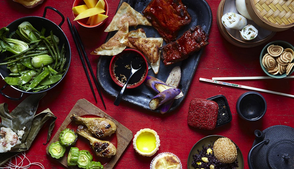 item 1 of Gallery image - Overhead Assortment Of Asian Dishes, AARP Food And Recipes, Authentic Asian Dishes