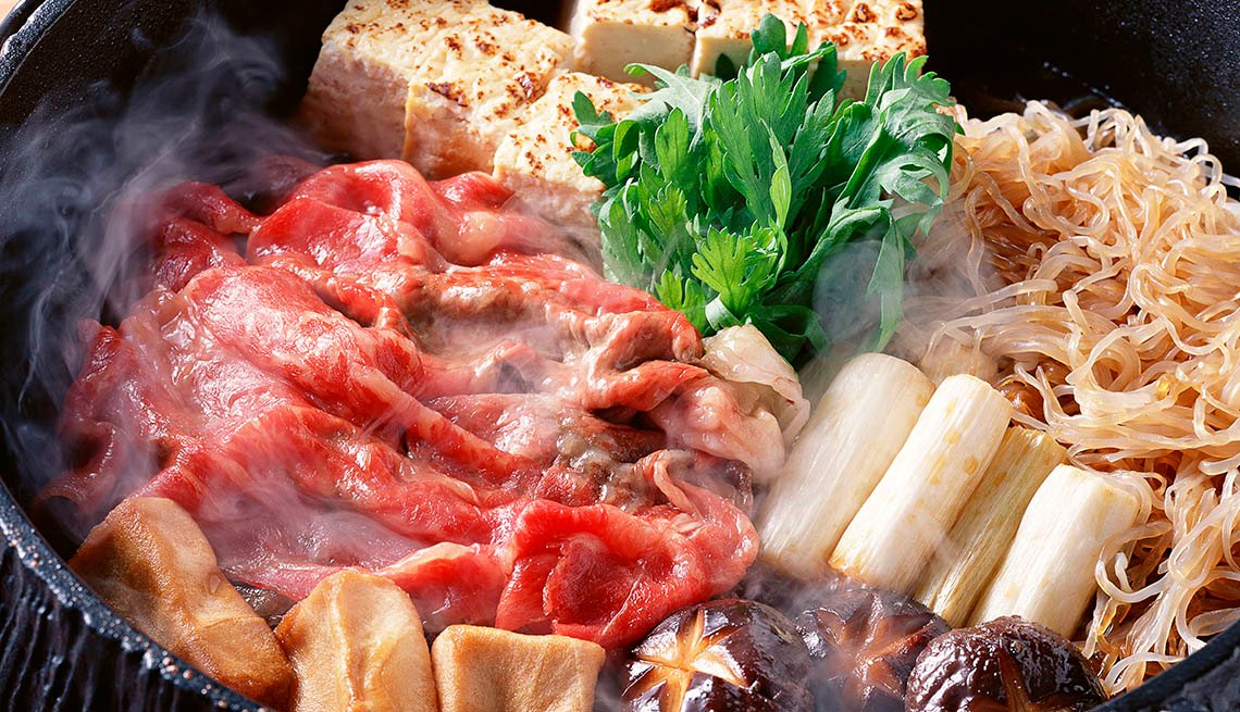 Traditional Japanese Hot Pot Dish Called Sukiyaki, Noodles, Tofu, Mushrooms, Beef, AARP Food And Recipes, Authentic Asian Dishes