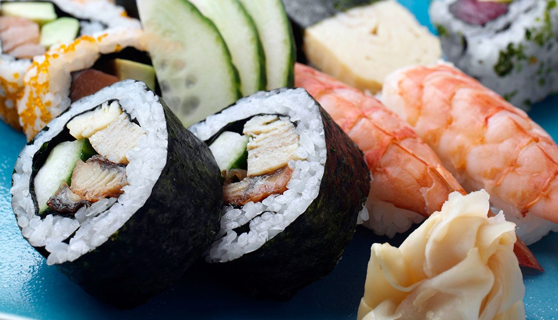 Assorted Pieces Of Sushi And Sashimi, Raw Fish, Japanese Food, AARP Food And Recipes, Authentic Asian Dishes