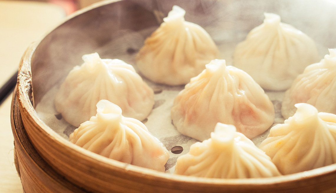 Steamer Basket With Xiao Long Bao, Chinese Soup Dumplings, AARP Food And Recipes, Authentic Asian Dishes