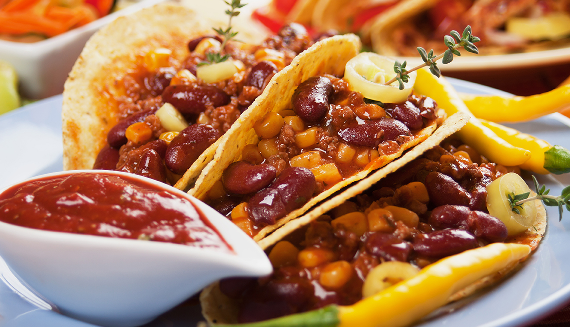 Black Beans and Corn Tacos on a Plate, White Bowl of Salsa, 8 Healthy and Easy Super Bowl Snacks