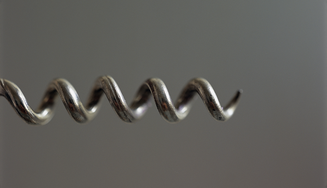 close-up of corkscrew spiral