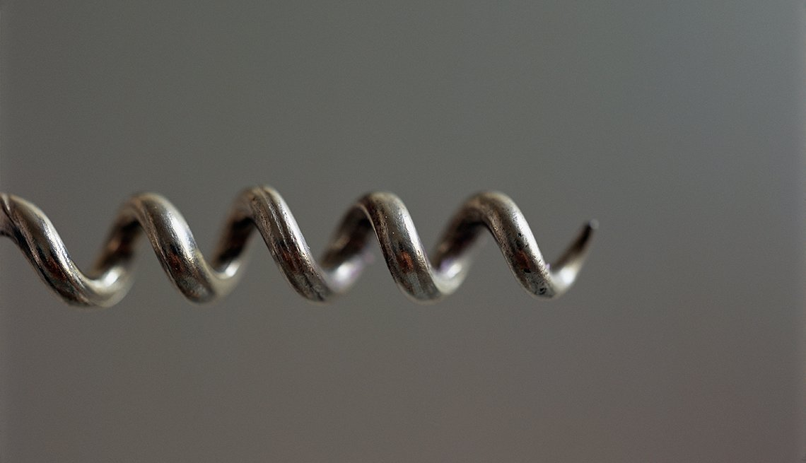 close-up of corkscrew spiral