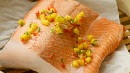 Poached Salmon with Mango Salsa recipe to prevent colon cancer