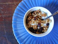Great granola with pecans, cranberries, and orange