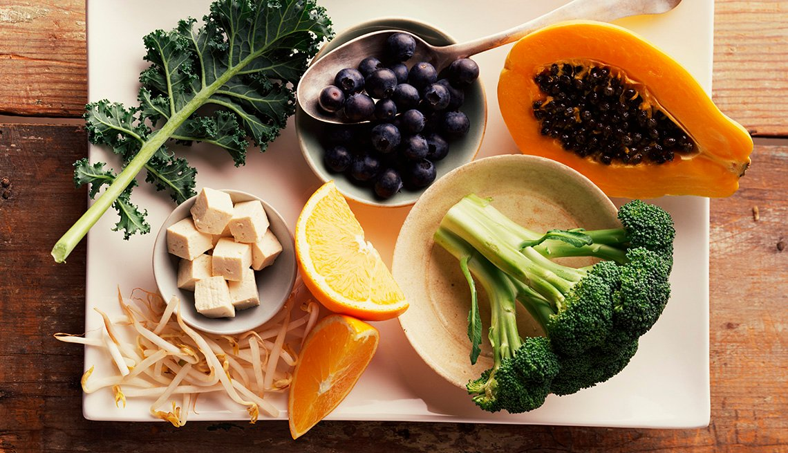 Plate With Assortment Of Fruits Vegetables, Foods Good For Bones
