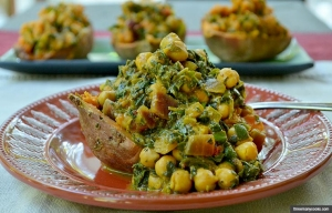 Twice-Baked Sweet Potatoes with Chickpea-Spinach Curry , Good For You Carb Dishes (threemanycooks.com)