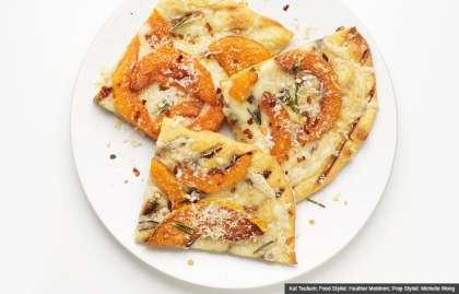 Squash Pizza, Butternut Squash Recipe (Kat Teutsch; Food Stylist: Heather Meldrom; Prop Stylist: Michelle Wong)