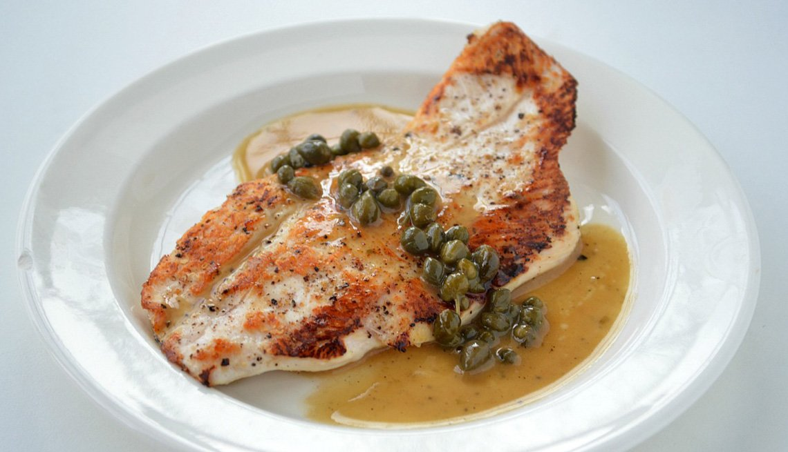 Chicken Topped With Caper Lemon Sauce, AARP Food And Recipes, Eight Healthy Chicken Recipes