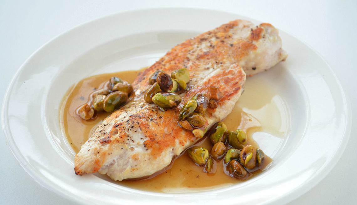 Chicken With A Sauce Made From Maple Syrup And Pistachio Nuts, AARP Food And Recipes, Eight Healthy Chicken Recipes