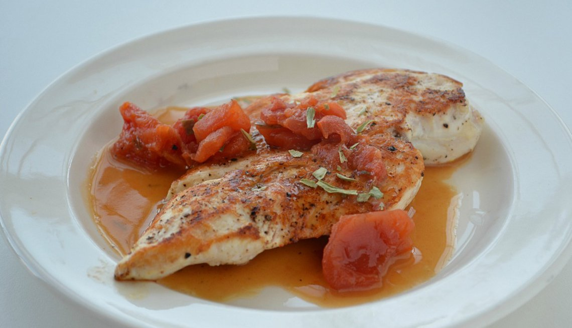Chicken Topped With Tomato Tarragon Sauce, AARP Food And Recipes, Eight Healthy Chicken Recipes