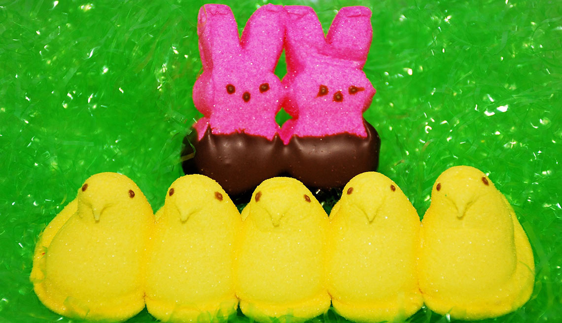 Pink bunny peeps, yellow chicken peeps, Things You Didn't Know About Peeps