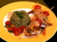 Receta - Arroz verde con camarones