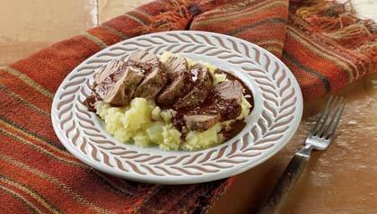 Lomo de cerdo en salsa de chipotle y chocolate