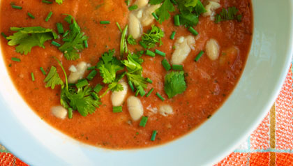 white bean and tomato soup, a meatless monday recipe