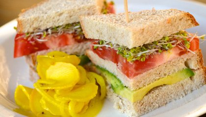 meatless monday tomato  avocado on 7 grain sandwich recipe