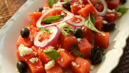 Watermelon, Feta, Black Olive Salad Meatless Monday recipe