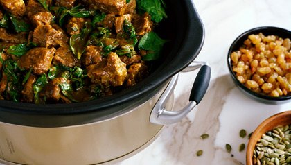 slow cooker recipe with lamb and spinach