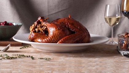 Roast Turkey with Andouille Sausage and Fruit Stuffing, Recipe by Dennise Oller