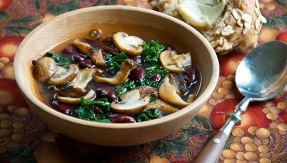 Meatless Mondays - Mushroom, Cranberry Bean and Kale Soup