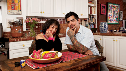 Zarela Martinez and Chef Aaron Sanchez, Mother and son share relationship and recipes.