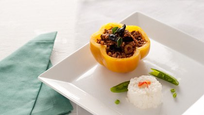 Bell Peppers Stuffed With Soy Crumbles