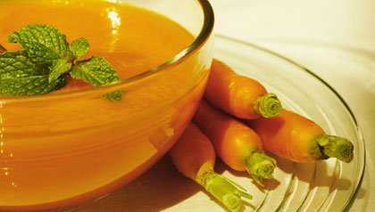 Close-up of a bowl of carrot soup