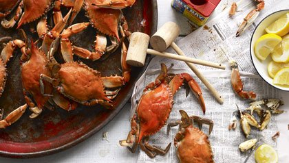 family crab feast with lemon and seasoning