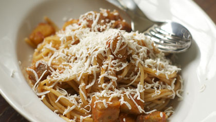 Meatless monday sicily spaghetti with eggplant and ricotta salata