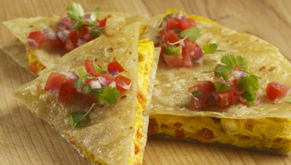 Breakfast Quesadillas, a recipe for Meatless Mondays.