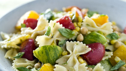 A main meal pasta vegetable salad.