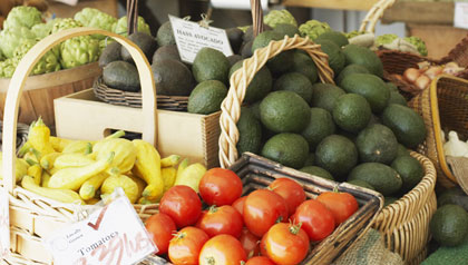 summer vegetables and produce for sale at an Organic Farmer's Market
