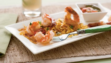 Shrimp Plantain in a Coconut Mojito Sauce with Rice - A Recipe by Giovanna Huyke
