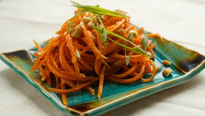 Carrot Slaw with Mango Chutney Dressing Meatless Monday recipe