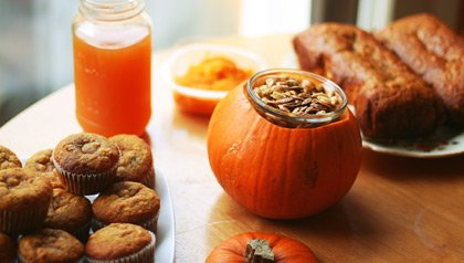 pumpkin recipes muffins, seeds, bread