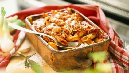 Penne Pasta and Tomato bake, a perfect winter casserole