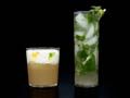 Glass of Mojito and glass of Pisco Sour, Recipe by Denisse Oller