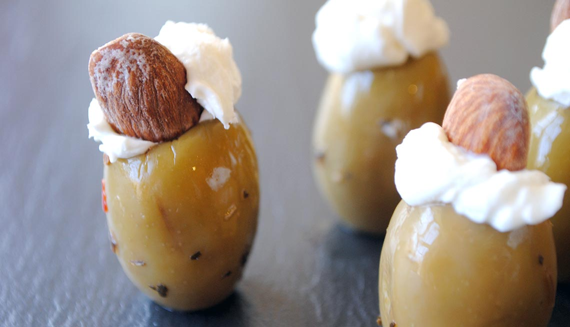 Almond and Cream Cheese-Stuffed Colossal Olives, 10 Easy Low Fat Snacks