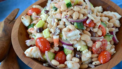 AARP Food Expert Pam Anderson: 3 Main Course Salad Recipes: Shrimp and Bean Salad