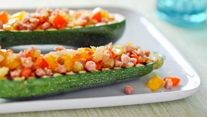 Zucchini Boats With Veggies and Ham - Recipe by Dennise Oller
