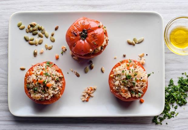item 1 of Gallery image - Stuffed Tomatoes With Quinoa, Raisins and Pearl Onions - Tomates rellenos de quinoa con uvas pasas y cebollitas perla,Tomates rellenos de quínoa