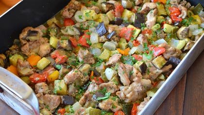Plato fáciles - recetas para la cena - Estofado de Pollo Ratatouille