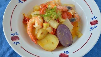 Plato fáciles - recetas para la cena - Estofado de Camarones Mediterráneo