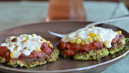 Vegetable Pizza Recipes: Crustless Zucchini Pizzas with Corn and Mozzarella