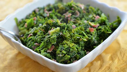 Mustard greens made healthy. For three healthy southern recipes.