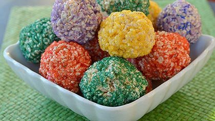 Mulit-colored rice krispie balls, Recipe by Pam Anderson
